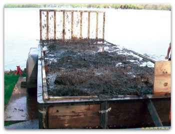 Our compact dredge can be used with a trailer for sediment storage and removal.